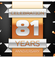 Eighty one years anniversary celebration golden vector image vector image