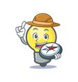 explorer light bulb character cartoon vector image vector image