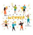 flat people characters with sports prize trophy vector image