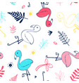 hand drawing flamingo seamless pattern vector image