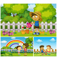happy children doing activities in park vector image vector image