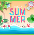 hello summer poster top view tropic vector image vector image