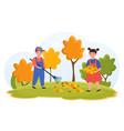 kids doing housework chores raking falling leaves vector image vector image