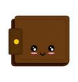 leather wallet symbol kawaii cartoon vector image vector image