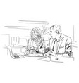 men and woman business talking in the office vector image