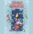 merry christmas with a cute cartoon mouse vector image vector image