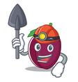 miner plum mascot cartoon style vector image vector image