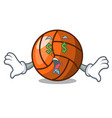 money eye volleyball mascot cartoon style vector image vector image