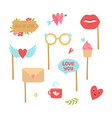 photo booth elements love decorations heart lips vector image vector image