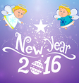 Postcard 2016 with angels vector image vector image