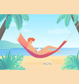 reading young man on hammock flat gradient vector image