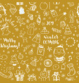 seamless doodles christmas pattern cartoon vector image vector image