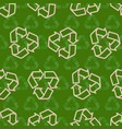 Seamless recycling sign pattern vector image