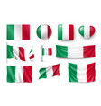set italy flags banners banners symbols flat vector image vector image