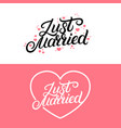 set just married hand lettering quote vector image vector image
