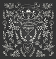 Set of floral hand-drawn elements on the vector image vector image