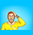 shocked hipster man with opened mouth vector image vector image