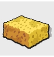 Square piece of yellow cheese with holes vector image
