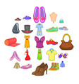 stylish clothes icons set cartoon style vector image vector image