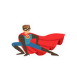 superhero man character dressed in blue costume vector image