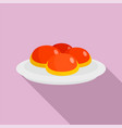 sweet jewish bakery on plate icon flat style vector image vector image