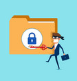 thief hacker holds key stealing confidential data vector image