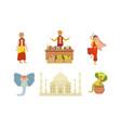 traditional indian symbols set elephant taj vector image vector image