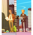 Two Businessmen At Big City Background vector image vector image