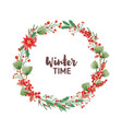 winter time handwritten lettering inside round vector image vector image