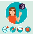 woman character with sign and symbols vector image vector image