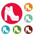 woman shoes icons circle set vector image vector image