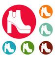 woman shoes icons circle set vector image