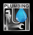wrench and water pipe a drop water vector image vector image
