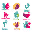hand heart icons for charity ot donation vector image