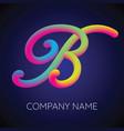 b letter logo icon blending color vector image