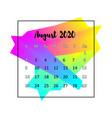 2020 calendar design abstract concept august 2020 vector image vector image
