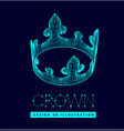 3d crown made lines and dots mesh low poly vector image