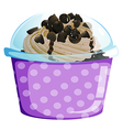 A lavender disposable cup with a cake inside vector image vector image
