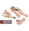 bartender hands set vector image vector image