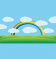 beautiful rainbow over field vector image vector image