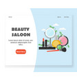 beauty saloon website landing page design vector image