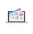 buying airplane tickets on laptop vector image vector image
