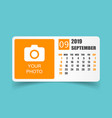 calendar september 2019 year in simple style vector image vector image