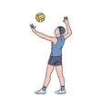 cartoon athlete doing ball serve in volleyball vector image vector image