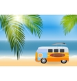 Cartoon van with surfboards standing in the road vector image vector image