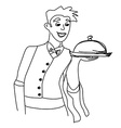 Cartoon Waiter - funny doodle vector image vector image