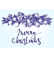 Christmas background with fir twigs and balls hand vector image vector image