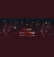 christmas horizontal web banner with pink gold vector image