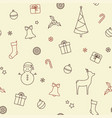 christmas symbols seamless background vector image vector image