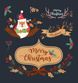 christmas wreath elements and decoration design vector image vector image